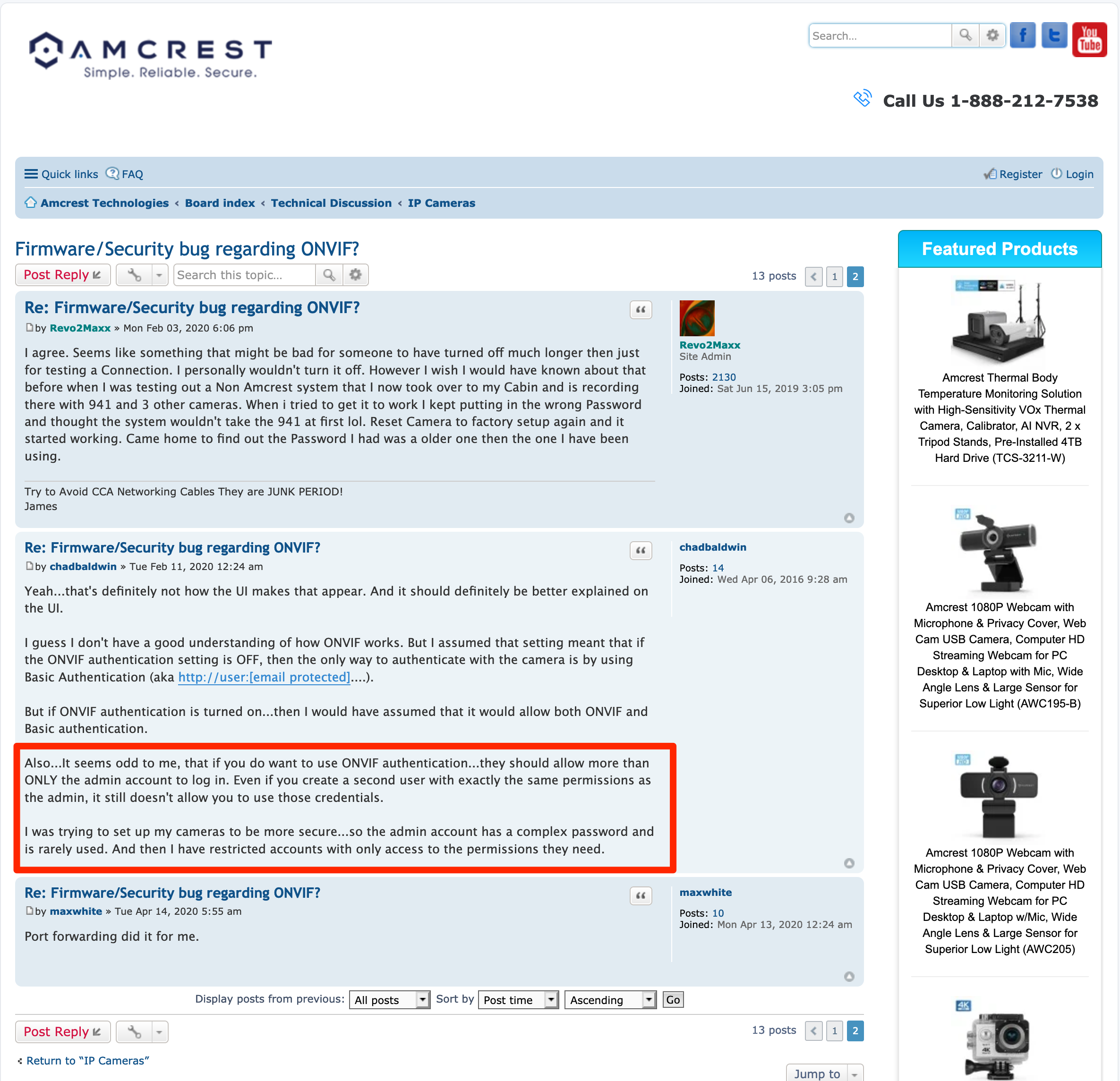 Screenshot showing a post on the amcrest support forums where other people have noticed the lack of multi-user authentication for ONVIF authentication