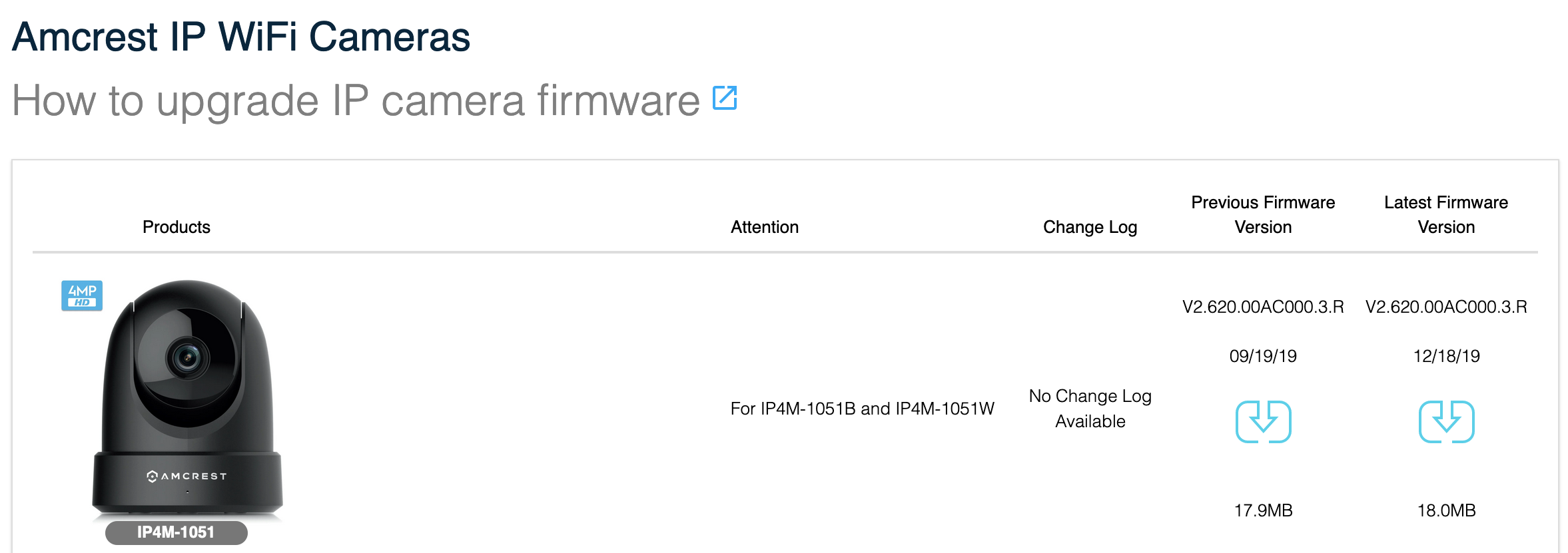 Screenshot showing the Amcrest Firmware page