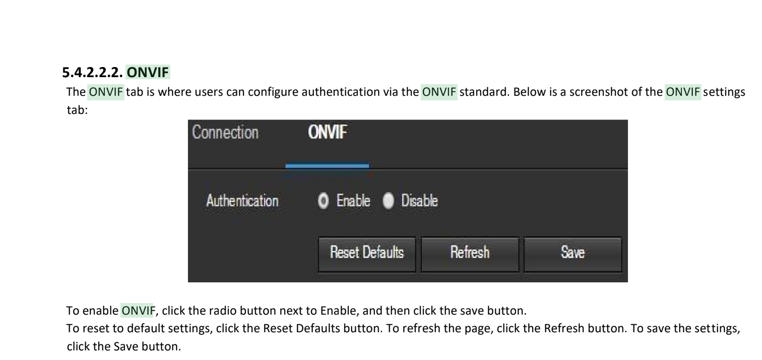 Screenshot showing the 'authentication' setting for the ONVIF service on the camera management interface