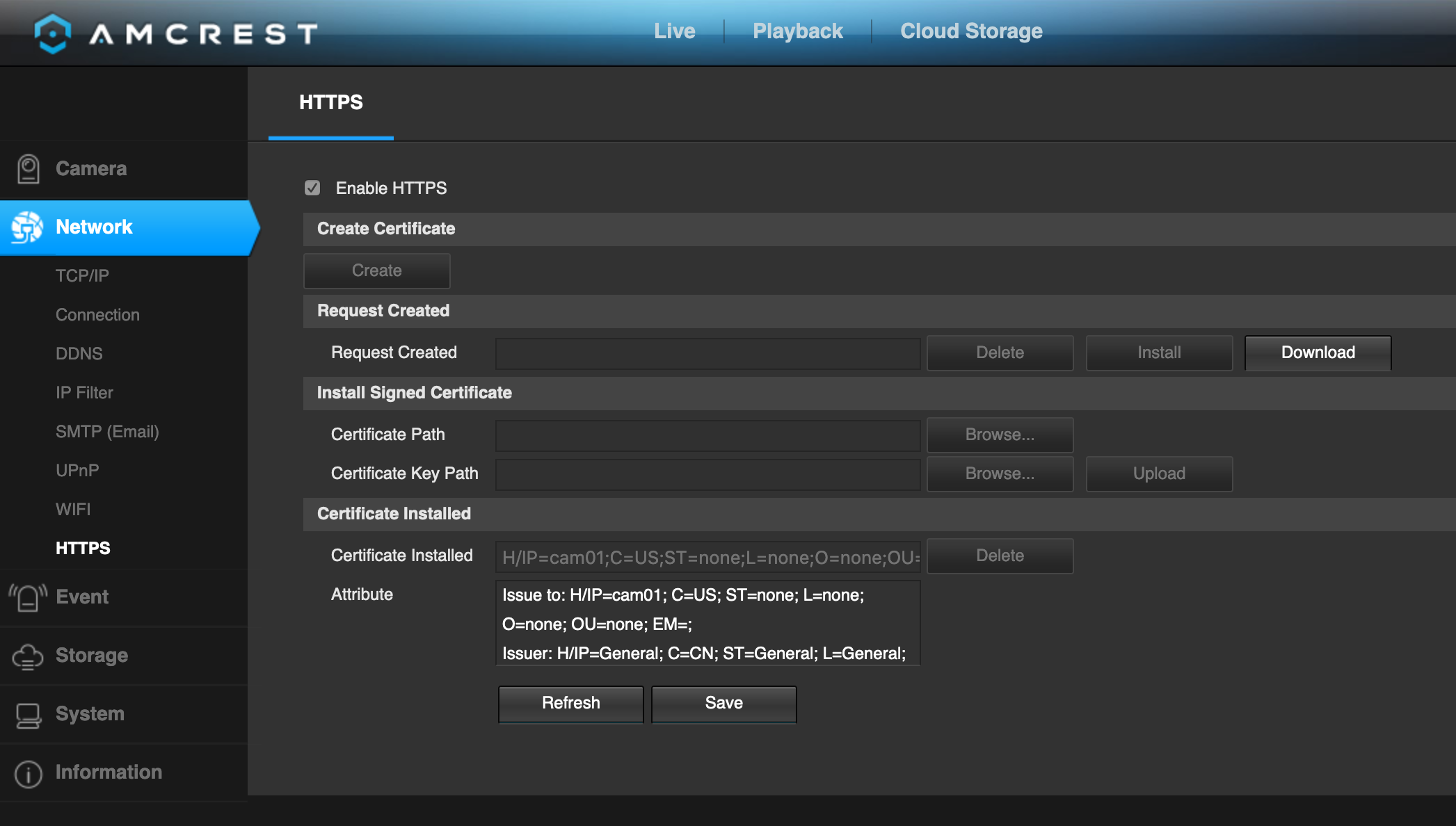 Screenshot showing the HTTPS / certificate configuration on the camera management interface