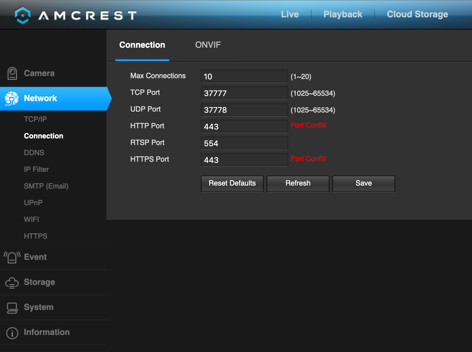 Screenshot showing the port assignment page on the camera management interface