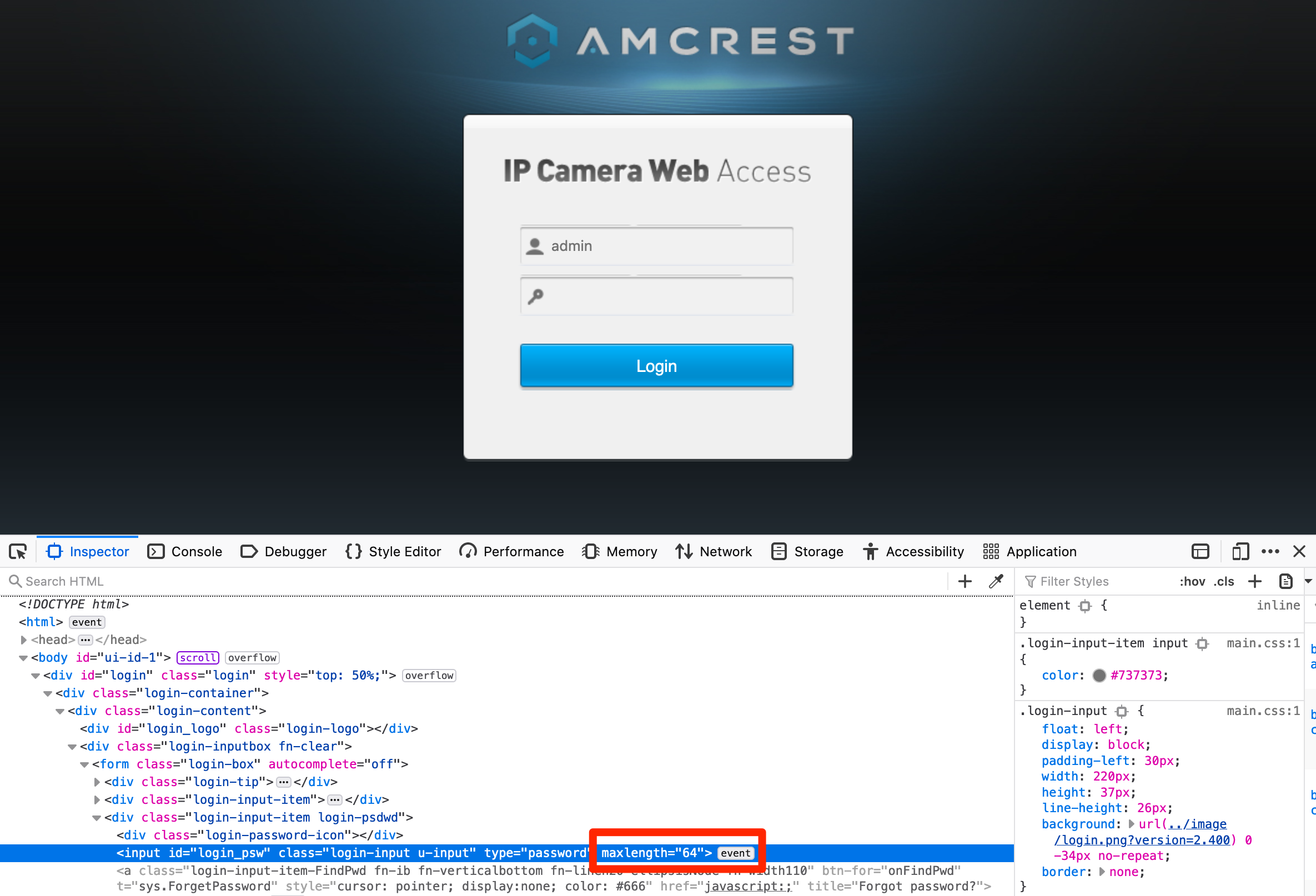 Screenshot showing the HTML for the password field on the login page