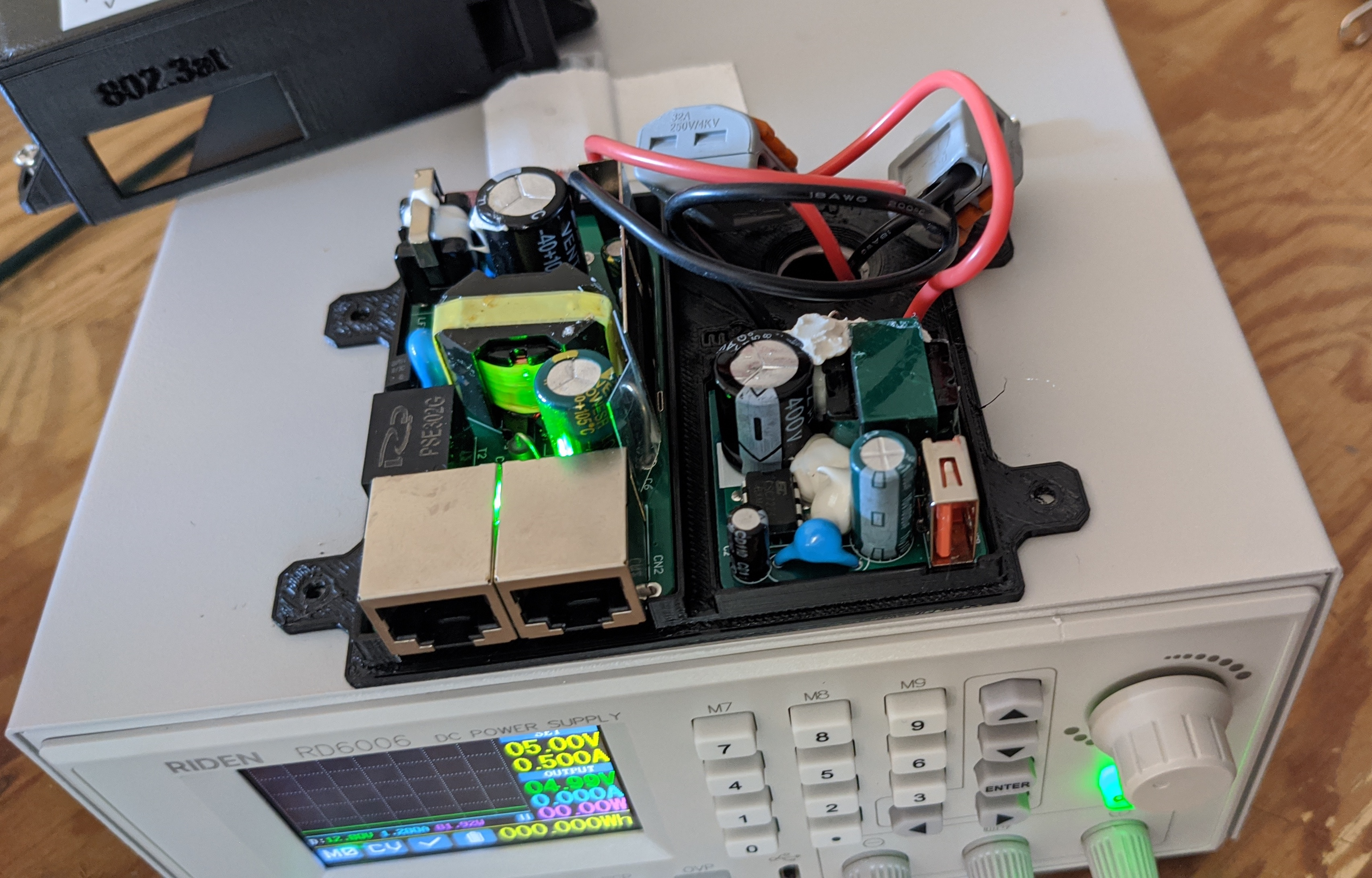 picture of auxiliary PSUs seated and wired