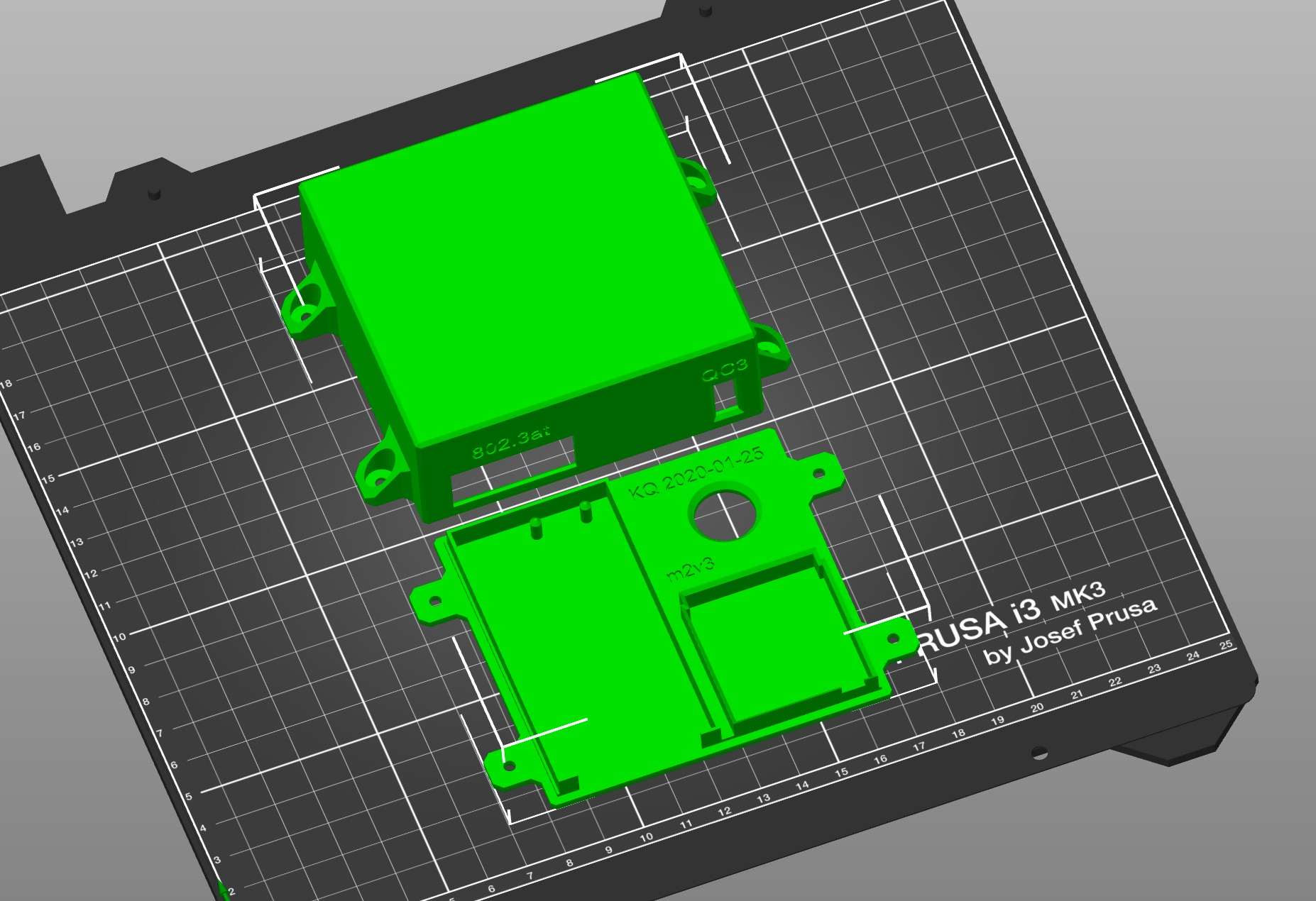 picture of components arranged on print bed