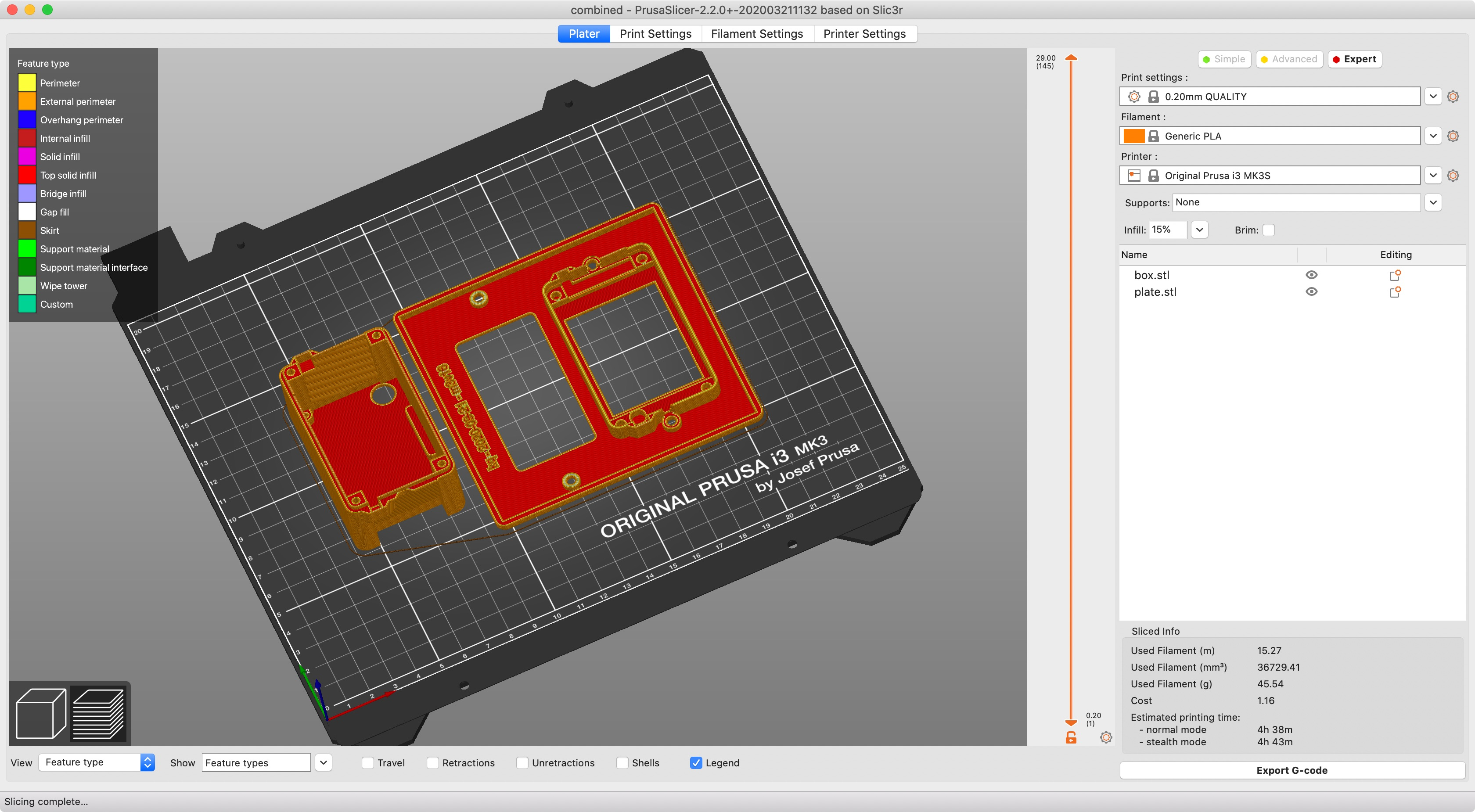 Screenshot showing modified enclosure files in slicer for 3d printer