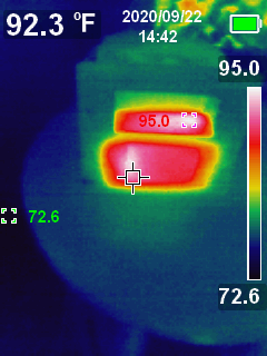 photo from a thermal camera showing the HASP device removed from it's electrical box, the sides and rear are warm