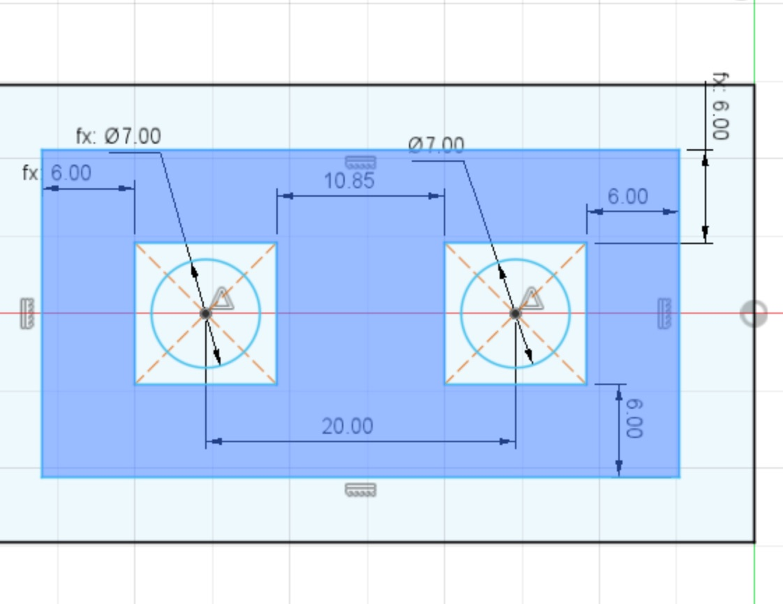 Screenshot from Fusion360 showing dimensions between screw holes