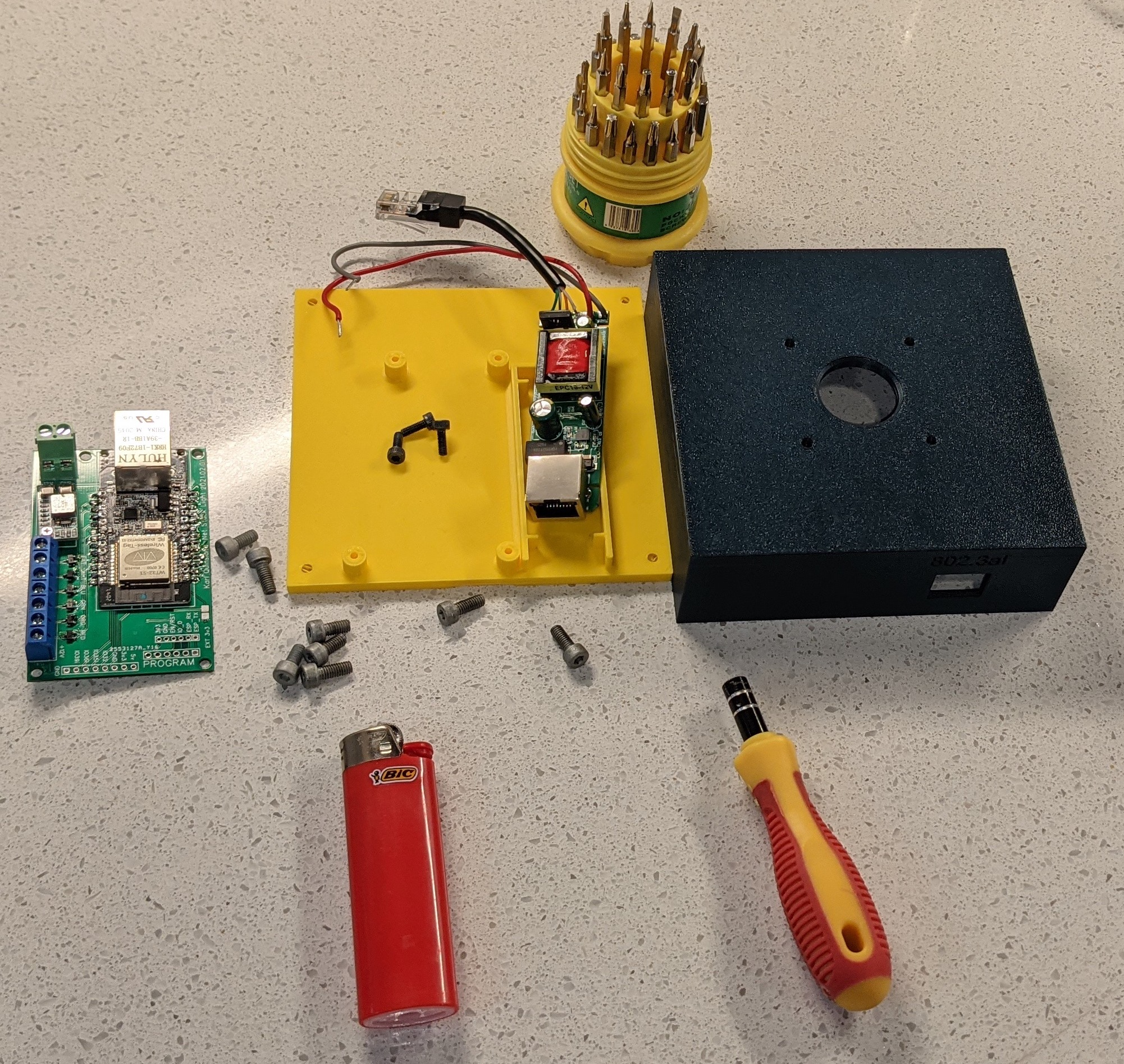 Picture showing some of the components and tools used in assembly.