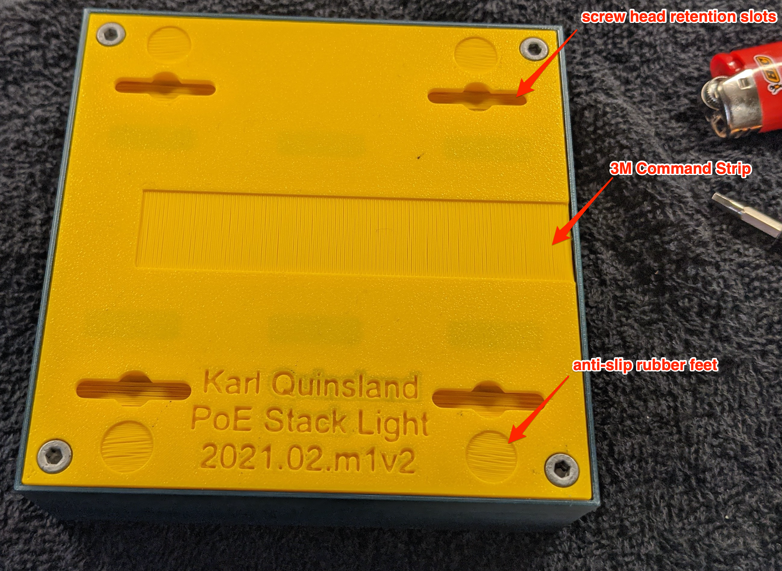Picture annotated to call out specific design features in the base for a variety of mounting options.