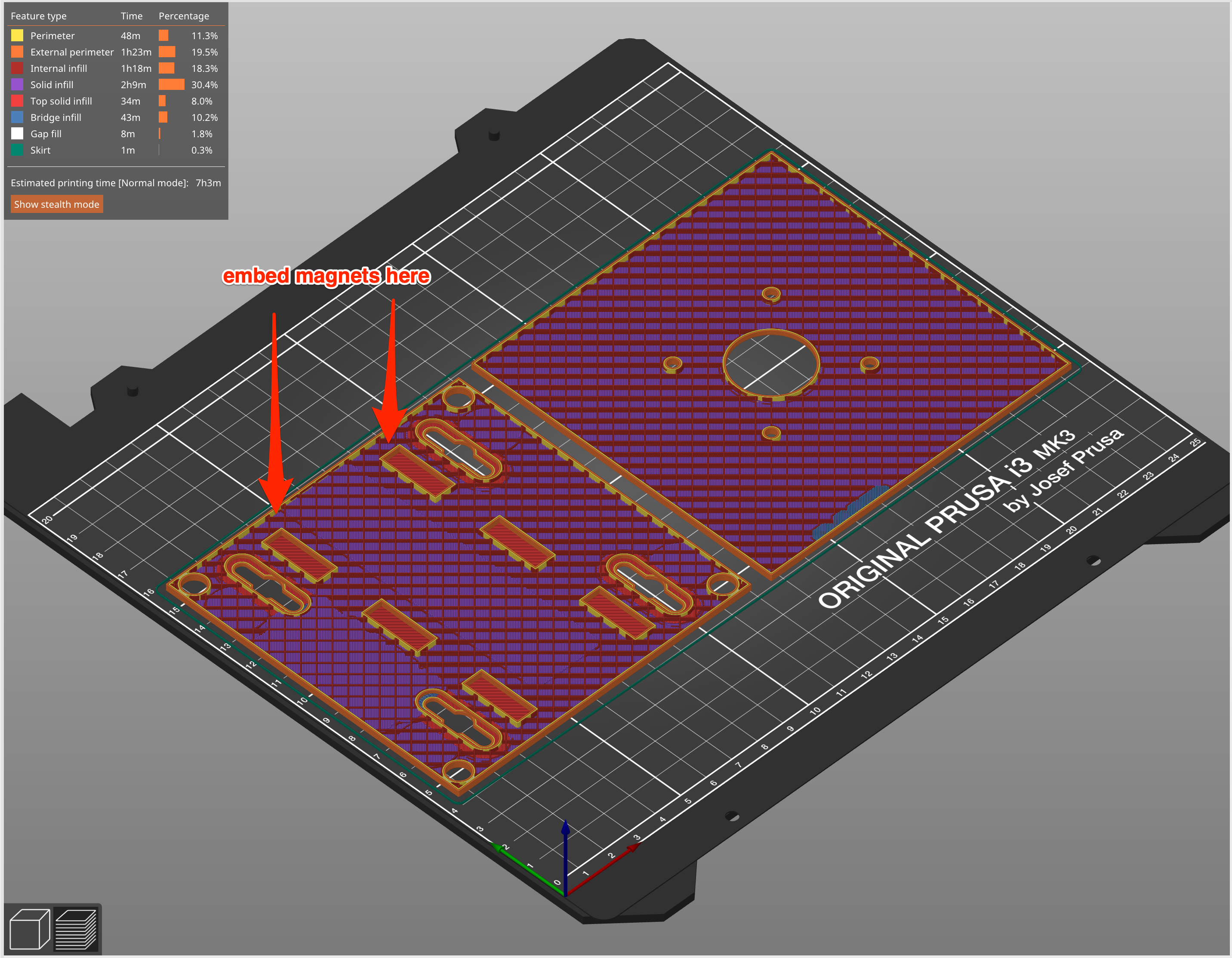 Screenshot showing 3D printed parts arranged on slicing software with annotation pointing out when to insert optional magnets.