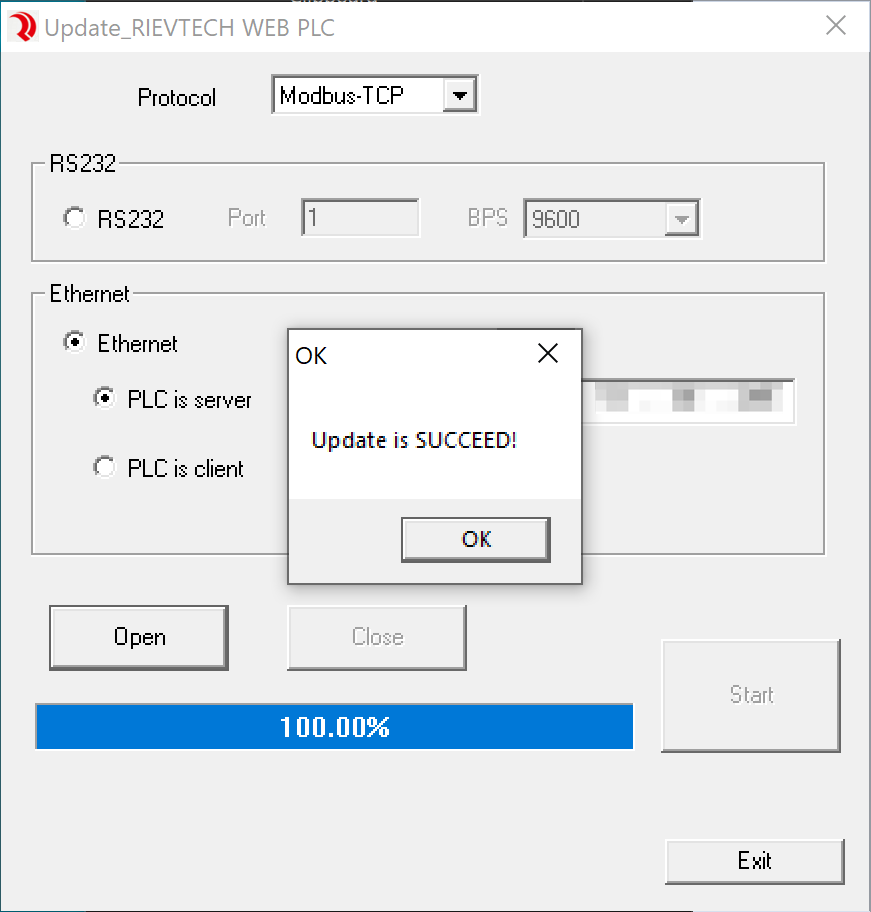 Screenshot showing 'Update is SUCCEED!' message after device recovery.