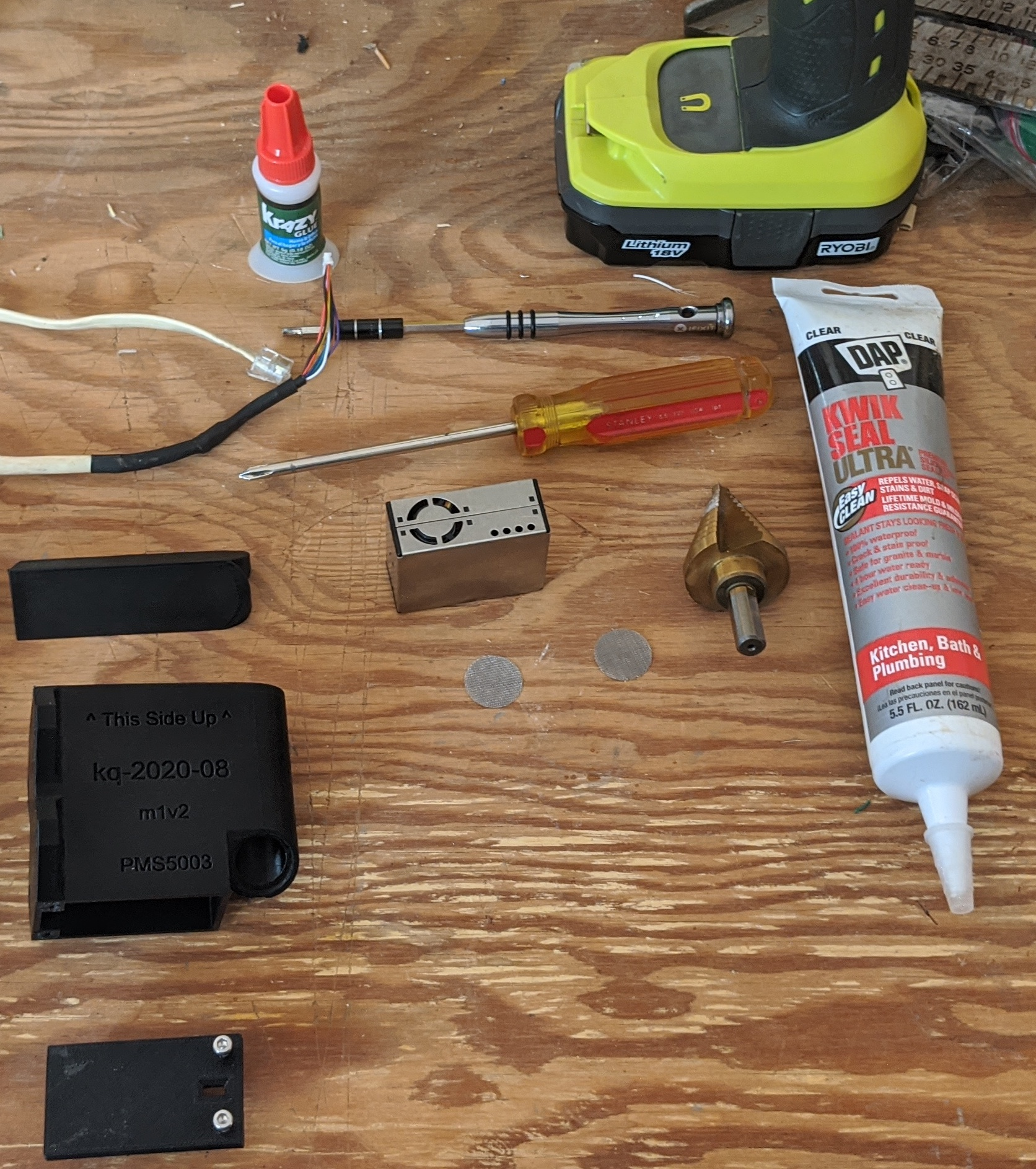 Picture showing tools/materials required for assembly