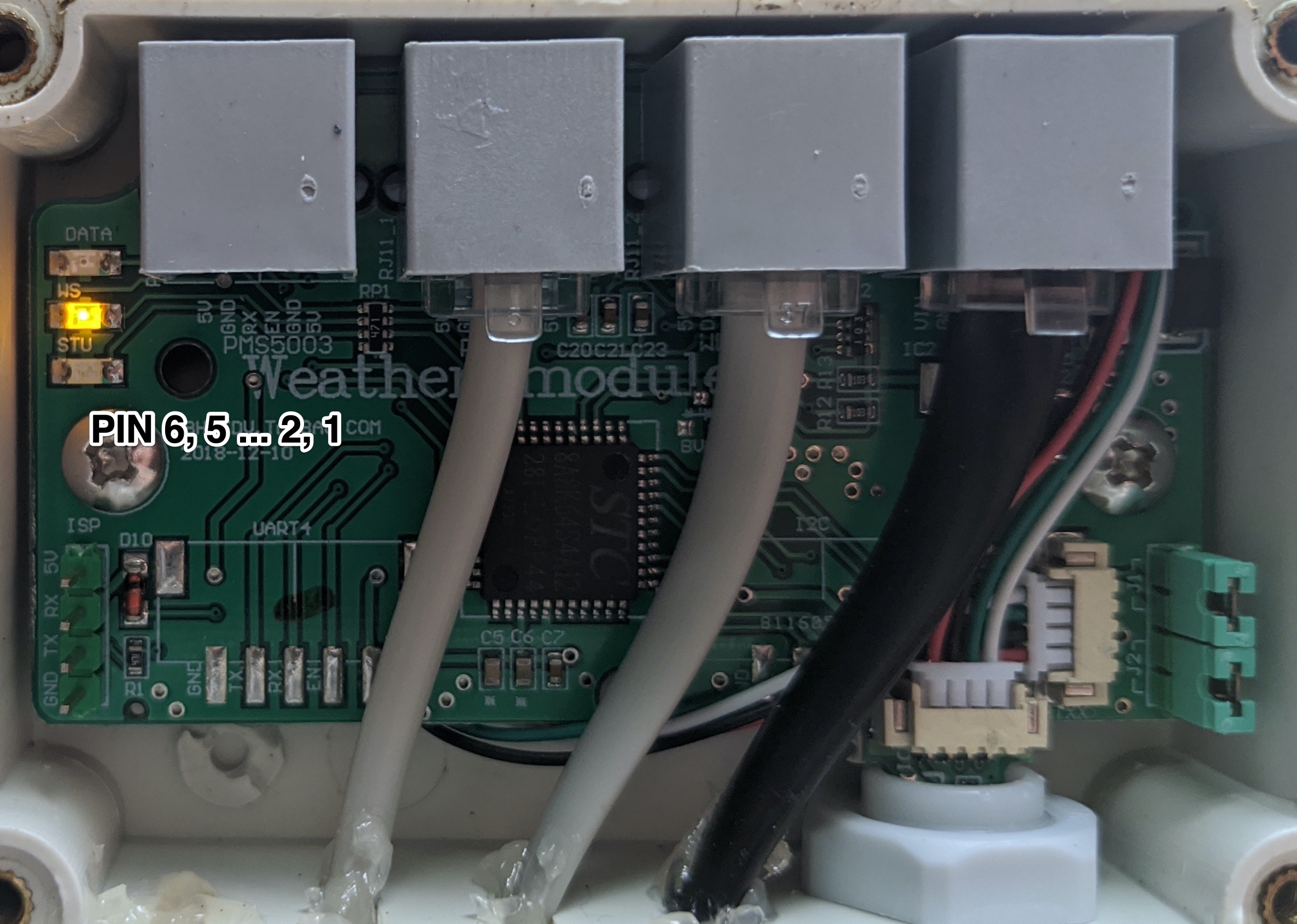 Screenshot showing the RJ11 jack on WS3 board w/ pin numbers