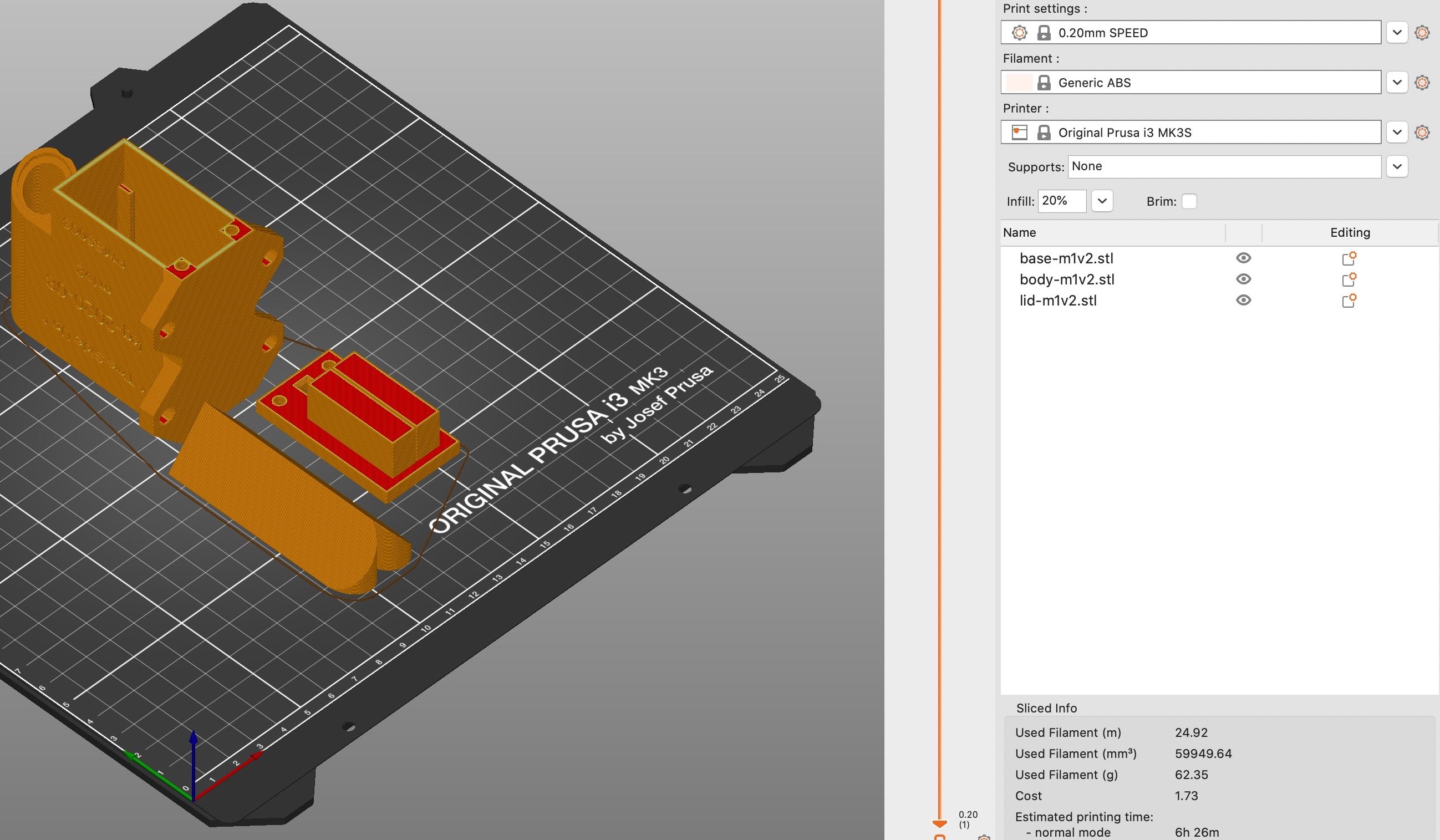 Screenshot showing suggested print bed arrangement